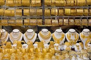 Gold jewelry on display in Dubai, United Arab Emirates